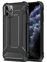 Wollony Armor Case for iPhone 11 Pro Max, Rugged Heavy Duty Hybrid Hard Impact Resistant Slim Phone Case Anti-Scratch Durable Cover for iPhone 11 Pro Max 6.5inch Support Wireless Charging Black