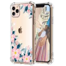 "Hepix Pink Flowers iPhone 11 Pro Case Floral Clear 11 Pro Case, Slim Soft Flexible TPU Frame with Four Protective Cushion Corners, Rasied Lip Anti-Scratch Shock Absorbing for iPhone 11 Pro (5.8"") 2019"
