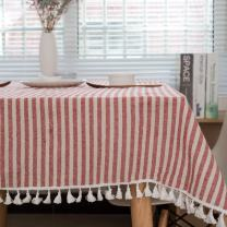 ColorBird Stripe Tassel Tablecloth Cotton Linen Dust-Proof Table Cover for Kitchen Dinning Tabletop Decoration (Rectangle/Oblong, 55 x 102Inch, Red)