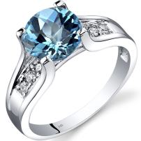 Peora Swiss Blue Topaz and Diamond Cathedral Ring in 14K White Gold, 2.25 Carats total, Solitaire Round Shape, 8mm, Sizes 5-9
