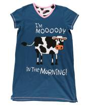Lazy One V-Neck Nightshirts for Women, Animal Designs