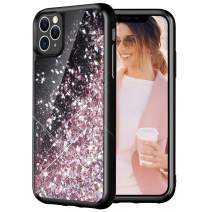 Caka Glitter Case for iPhone 11 Pro Max Glitter Case Starry Night Liquid Bling Luxury Flowing Sparkle Glitter Soft TPU Black Cute Women Girls Case for iPhone 11 Pro Max (6.5 inch) (Rose Gold)