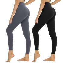 SYRINX High Waisted Leggings for Women 1/2 Pack Soft Athletic Pants for Running Workout