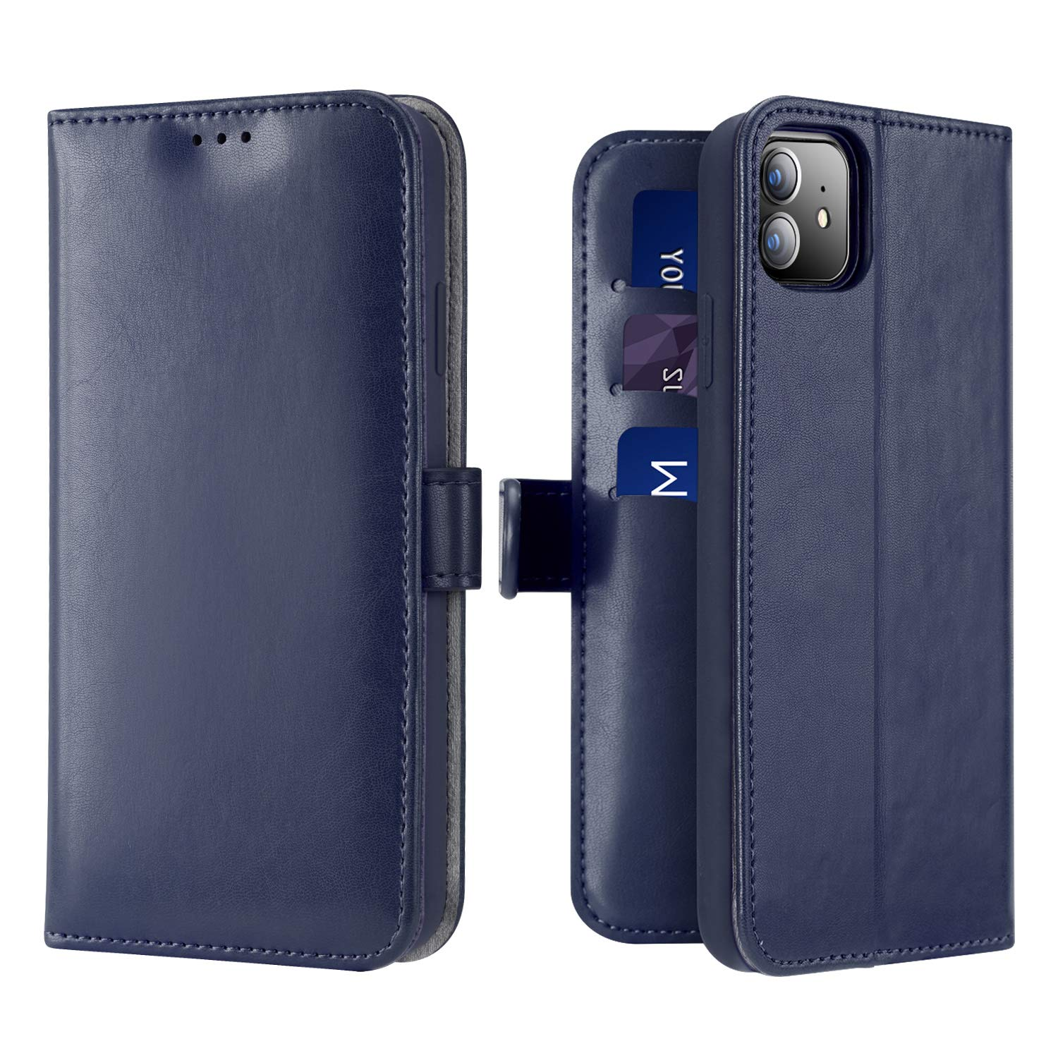 DUX DUCIS Wallet Case for New iPhone 11, Soft PU Leather Shockproof Flip Folio Wallet Cover with Card Slots, Magnetic Closure, Kickstand for New iPhone 11 (Blue)
