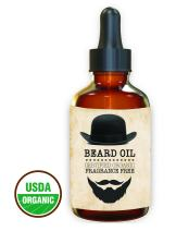 Premium - Beard Oil and Conditioner - 100% Organic, Pure and Natural Unscented - for Groomed Beard, Mustache, Face and Skin - Softens Your Beard, Stops Itching, Fragrance Free, best Beard Kit 1 oz.