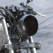 KiWAV 5-3/4 5.75 Inch Bottom Mount Motorcycle Headlight Bucket Housing Black Scrambler Style with Drainage Hole
