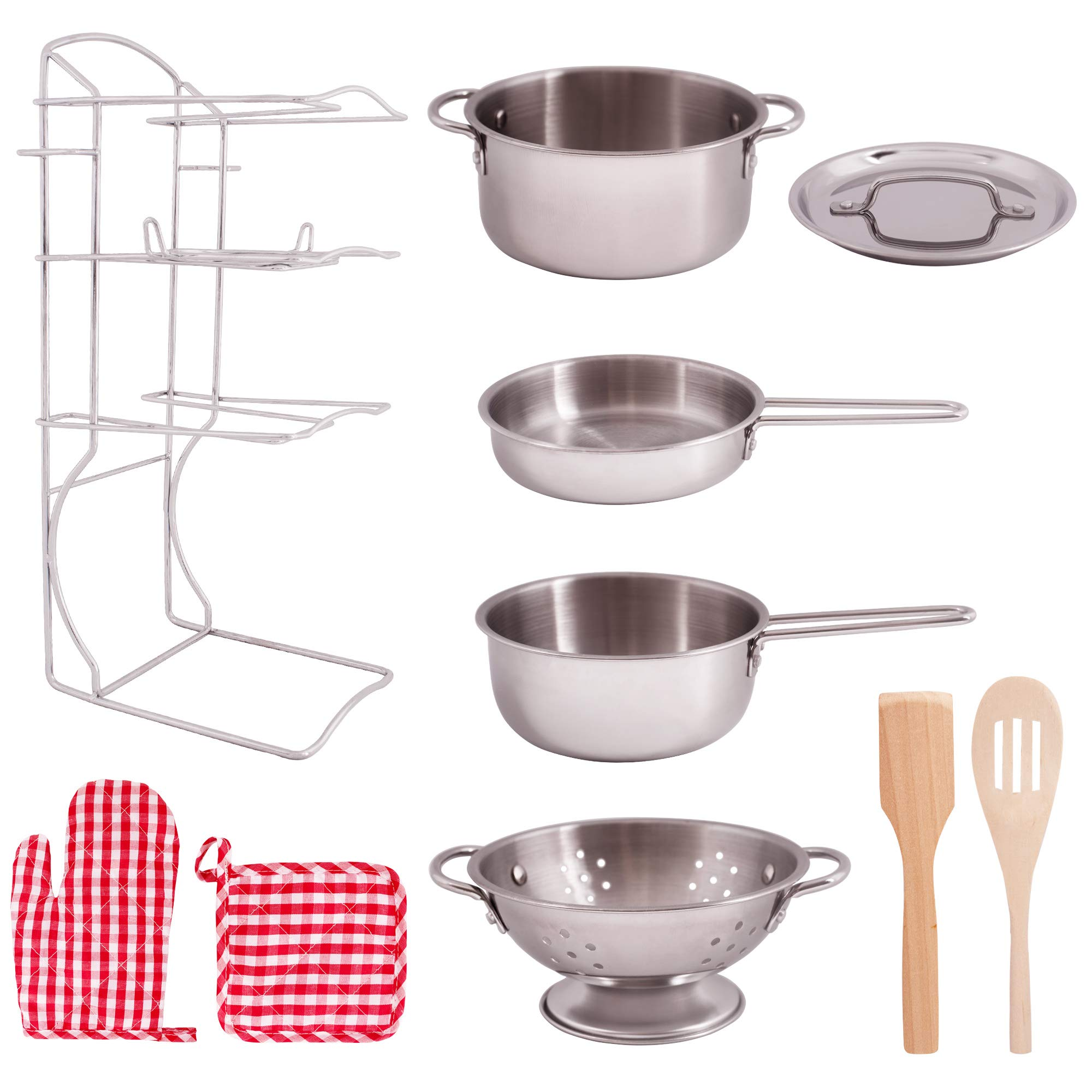 Giantville Toy Kitchen Play Set, 10 Piece Bundle - Stainless Steel Pots, Pans and Skillets, Wooden Spoons and Utensils, Pot Holders and Storage Caddy Rack