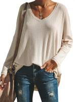 EVALESS Womens V Neck Long Sleeve Waffle Knit Tunic Shirts Casual Loose Blouses Pullovers Tops