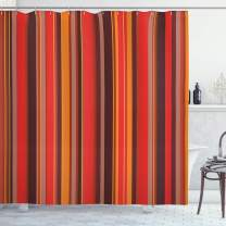 "Ambesonne Geometric Shower Curtain, Vertical Tiny and Thick Lines Striped Retro Style Graphic Pattern Artwork, Cloth Fabric Bathroom Decor Set with Hooks, 70"" Long, Red Brown"