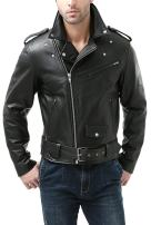 BGSD Men's Classic Leather Motorcycle Jacket (Regular and Big & Tall Sizes)