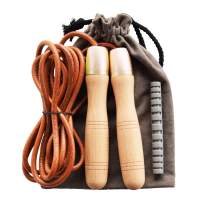 Ahomie Jump Rope, Leather Skipping Jumping Ropes, with 360-Degree Bearing and Pure Wood Handles, for Gym & Home Fitness Workouts