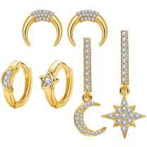 3 Pairs Cubic Zirconia Moon Star Earrings Set for Women Girls Dangle Drop Earrings Hypoallergenic Small Cartilage Hoop Stud Earrings, Gold