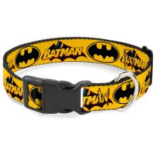Buckle-Down Dog Collar Plastic Clip Vintage Batman Logo Bat Signal 3 Yellow Available In Adjustable Sizes For Small Medium Large Dogs