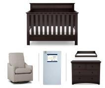 Serta Fall River 5-Piece Nursery Furniture Set (Serta Convertible Crib, 4-Drawer Dresser, Changing Top, Serta Crib Mattress, Glider), Dark Chocolate/Beige