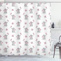 """Ambesonne Elephant Nursery Shower Curtain, Baby Elephants Playing with Butterflies Design Pattern, Cloth Fabric Bathroom Decor Set with Hooks, 70"""" Long, Grey Pink"""