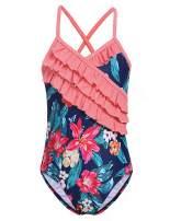 Arshiner Kid Girl's Ruffle One Piece Swimsuit Hawaiian Cross Straps Swimwear Floral Summer Beach Bathing Suit