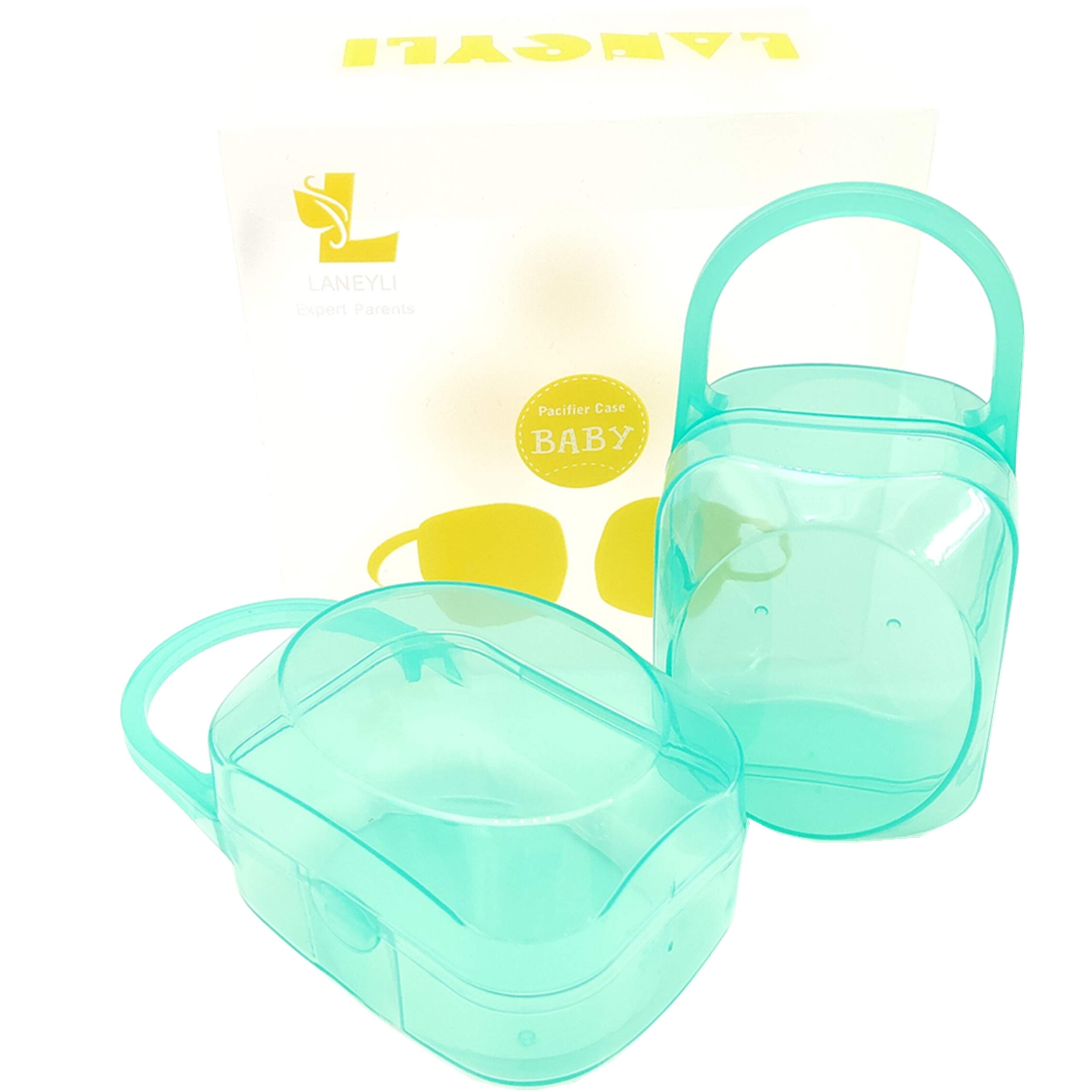 LANEYLI Pacifier Case Pacifier Holder Case Pacifier Clip Binky Holder Case Pacifier Box Pacifier Accessories 2 Pack, Green