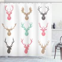 """Ambesonne Antlers Shower Curtain, Reindeer Antlers Illustration Hunt Countryside Jungle Nature, Cloth Fabric Bathroom Decor Set with Hooks, 84"""" Long Extra, Green Pink"""