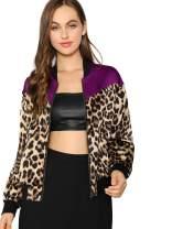 SheIn Women's Long Sleeve Pockets Windbreaker Leopard Outwear Zip Bomber Jacket Large Multicolor