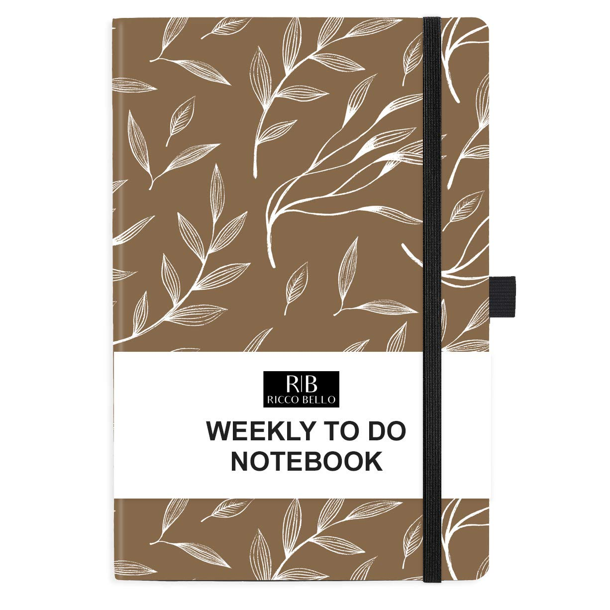 RICCO BELLO Hardcover Undated Weekly to Do Calendar Checklist Notebook, Fountain Pen Friendly, Pen Loop, Ribbon Bookmark, Storage Pocket, Thick Paper (Brown Leaf)