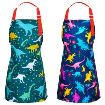 PASHOP 2 Pack Kids Apron Dinosaur Aprons With Pockets for Children Girls Boys Toddler Apron for Painting Cooking Baking