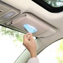 MiaodaM Mask Holder for Car, Car Visor Tissue Holder Seatback Tissue Case Napkin Holder Car Assecories (Beige)