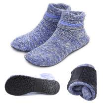 Women Non-slip Fuzzy Slipper Socks with Waterproof Soles Rubber Bottom Grippers