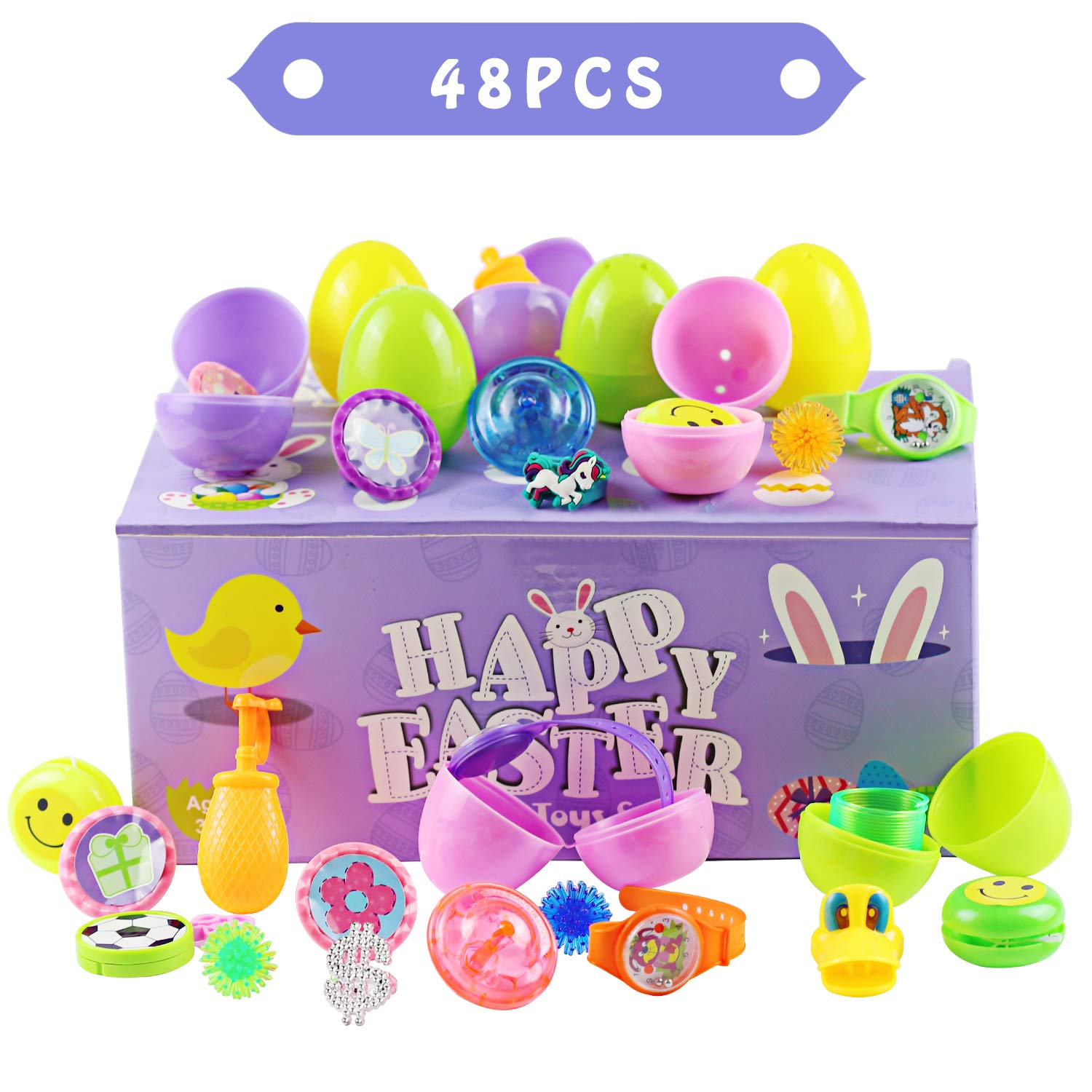 48PCS Easter Eggs Toys, Akamino Surprise Egg Filled Toys Boys and Girls Party Favor, Basket Stuffers, Perfect for Easter Egg Hunt for Kids