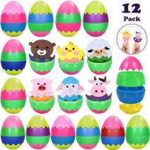 "Unomor 12 Pack Toys Filled Easter Eggs 3.6"" Prefilled Eggs with 12 DIY Animal Toys for Kids Easter Basket Stuffers Easter Egg Hunt Game Easter Gift Party Favors Classroom Prize"