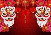 AOFOTO 8x6ft Chinese Style Backdrop Lanterns Lions Flowers Red Photography Background Happy New Year Spring Festival Holiday Celebration Performance Decor Portrait Shooting Vinyl Photo Booth Prop