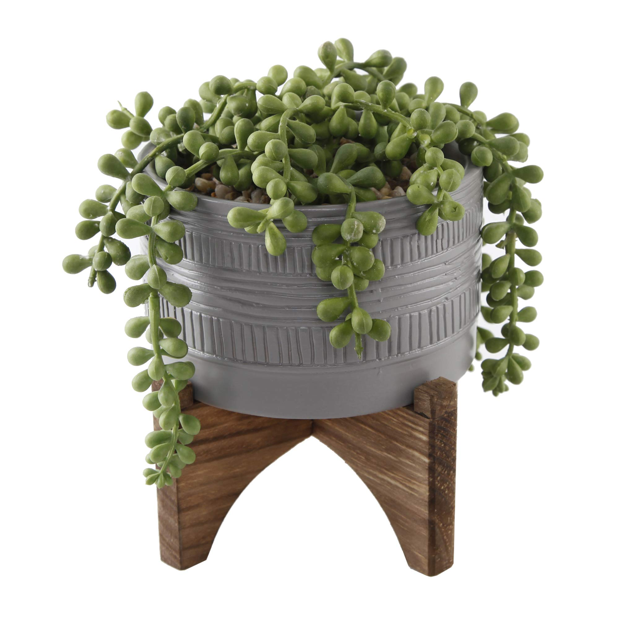 """Flora Bunda Artificial Succulent Faux Plant 5 inch String of Pearl in Pueblo Ceramic Planter on Stand,String of Pearl 5"""" Grey"""