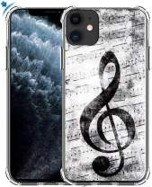 Case for iPhone 11 & MUQR Gel Silicone Slim Drop Proof Heavy Duty Protection Cover Compatible for iPhone 11 & Music Note Vintage Design Pattern