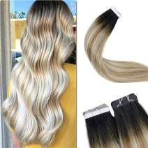 "【3-5 Days Arrive】LaaVoo 20"" Long Remy Hair Invisible Tape in Real Human Hair Extension Root in Highlighted Color Off Black to Golden Brown with Platinum Blonde 20Piece 50g For Short Hair"