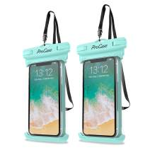"""Procase Universal Waterproof Case Cellphone Dry Bag Pouch for iPhone 11 Pro Max Xs Max XR XS X 8 7 6S Plus SE 2020, Galaxy S20 Ultra S10 S9 S8 +/Note 10+ 9, Pixel 4 XL up to 6.9"""" - 2 Pack, Green"""