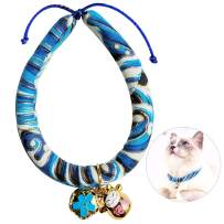 JOYPAWS Japanese Chirimen Kimono Cat Collar with Bell for Kitten Puppy Pet, Adjustable Cat Collars with Fortune