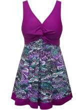 Wantdo Women's Plus Size Swim Dress Modest Swimsuit Vintage Peacock One Piece Swimwear