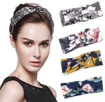 Women Headband Boho Floal Elastic Cotton Turban Head Wrap Twist Knot Hair Band 4 Pack (pattern-01)