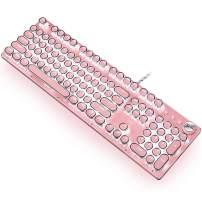 Gaming Keyboard,Retro Punk Typewriter-Style, Blue Switches, White Backlight, USB Wired, for PC Laptop Desktop Computer, for Game and Office, Stylish Pink Mechanical Keyboard (Round Keycaps)
