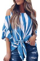 Selowin Women Striped V Neck Off Shoulder Bell Sleeve Tie Knot Casual Blouse Shirts Top
