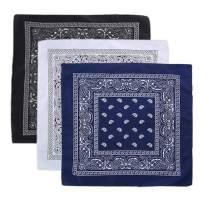 3/12 Pack Cotton Bandanas for Men & Women Cowboy Paisley Bandana Headband Scarf