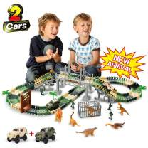 TTOUADY Dinosaur Toy Trains Race Car Extended 158 Tracks 2 Cars 6 Dinosaurs, Awesome Gift Learning Toys for 3 4 5 6 Years Old Boys Girls Toddlers (144)