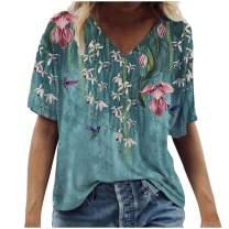 HUIHAIXIANGBAO Womens Giraffe Short Sleeve T Shirt Funny Graphic V Neck Tees Casual Loose Tops Blouse