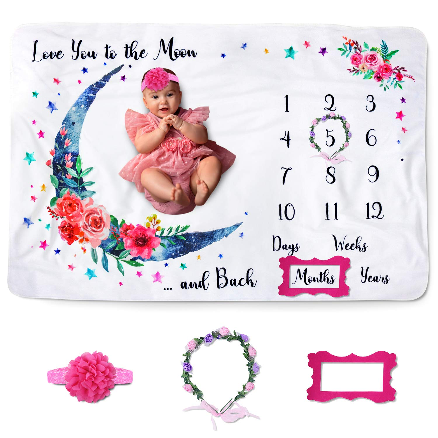 "Jamie&Jayden Baby Monthly Milestone Blanket for Baby Girl, Photo Blanket for Newborn and Baby Pictures. Includes Headband, Wreath and Frame 60""x40"