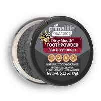Primal Life Organics | Dirty Mouth Activated Charcoal Tooth Powder | Gently Polishes, Whitens, Re-Mineralizes, Strengthens Teeth | 0.25 ounces (1 month supply) | Black Peppermint