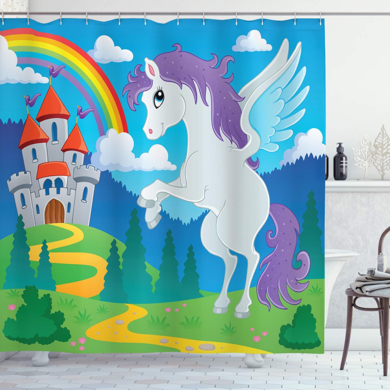 "Ambesonne Fantasy Shower Curtain, Fantasy Mythical Unicorn with Rainbow and Medieval Castle Fairy Tale Cartoon Design, Cloth Fabric Bathroom Decor Set with Hooks, 75"" Long, Blue"