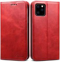 SINIANL iPhone 11 Pro Max Leather Case iPhone 11 Pro Max Wallet Case Book Folding Flip Case with Kickstand Credit Card Slot Magnetic Closure Protective Cover for iPhone 11 Pro Max 6.5 inch 2019 Red