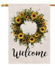 Welcome Sunflower Wreath Large House Flag Vertical Double Sided 28 x 40 Inch Summer Farmhouse Burlap Yard Outdoor Decor