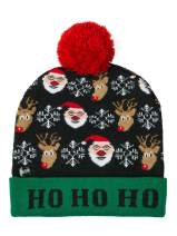 Ugly LED Xmas Christmas Hat Novelty Colorful Light-up Stylish Knitted Sweater Xmas Party Pompoms Beanie Cap