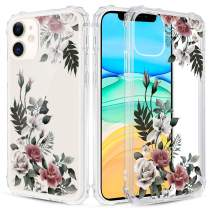 Caka Floral Clear Case for iPhone 11 Flowers Floral Pattern Design for Girls Women Girly Cute Slim Soft TPU Transparent Shockproof Protective Case for iPhone 11 (Rose)