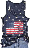 TAKEYAL American Flag Print Tank Shirt Women 4th of July USA Independence Day Patriotic Sleeveless Vest Top
